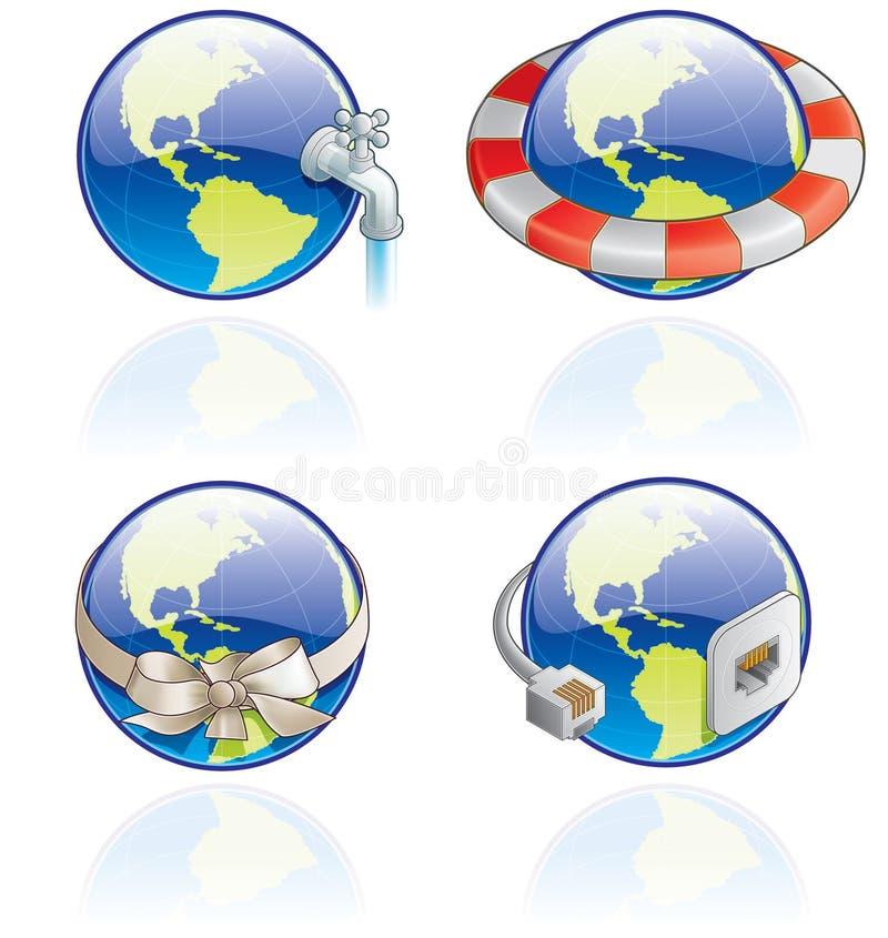 Graphismes de The Globe réglés - éléments 54c de conception illustration de vecteur
