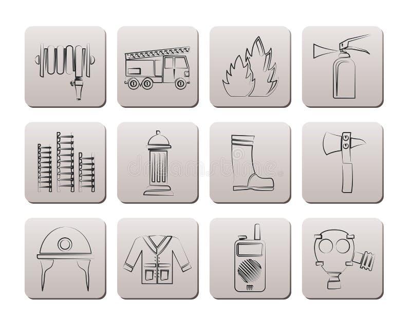 graphismes de matériel d'Incendie-brigade et de pompier illustration de vecteur