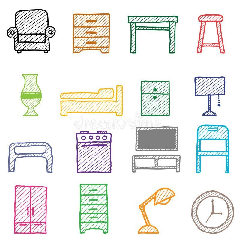 Graphismes de meubles de retrait de main illustration stock
