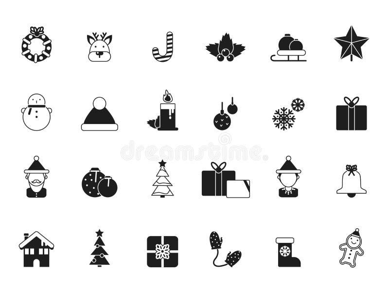 Graphismes de Noël Bells et cadeaux de Santa, d'elfe et de célébration, arbre vert et articles glacés de saison d'hiver de décemb illustration stock