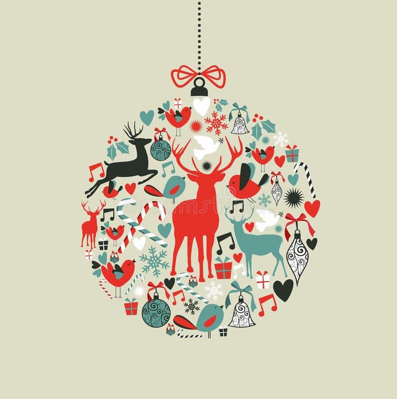 Graphismes de Noël dans la forme de babiole illustration stock