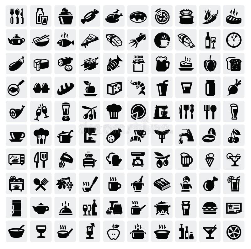 Graphismes de nourriture réglés illustration de vecteur