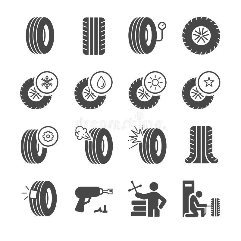 Graphismes de pneu réglés illustration de vecteur