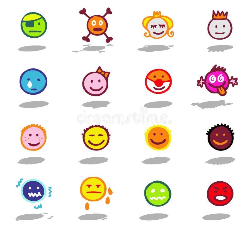 graphismes de smiley réglés illustration stock