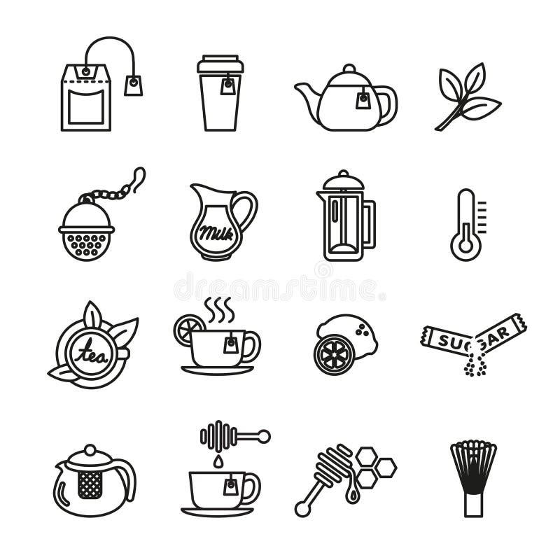Graphismes de thé réglés Ligne mince illustration de vecteur illustration de vecteur