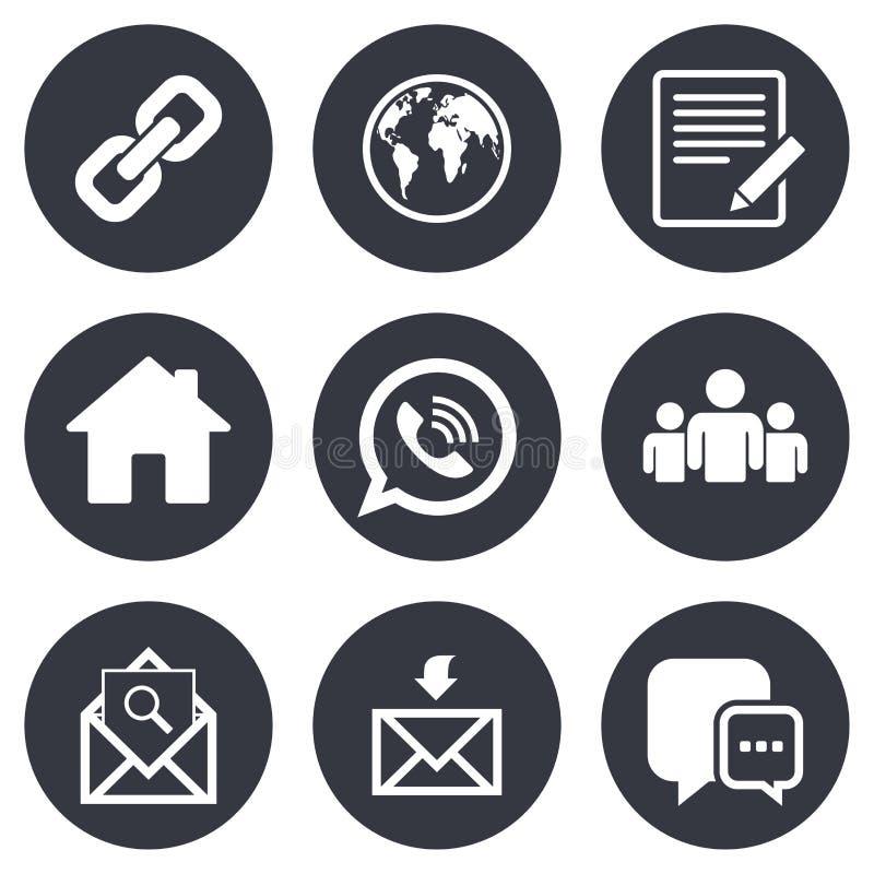 Graphismes de transmission Contact, signes de courrier illustration stock