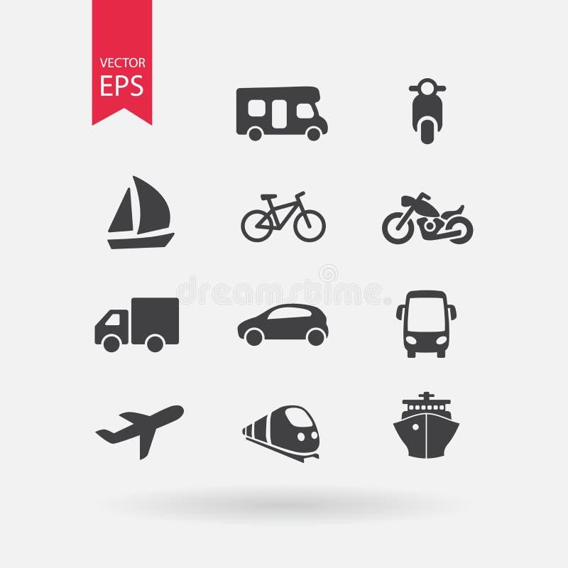 Graphismes de transport réglés Signes d'isolement sur le fond blanc Style plat de conception Illustration de vecteur illustration stock