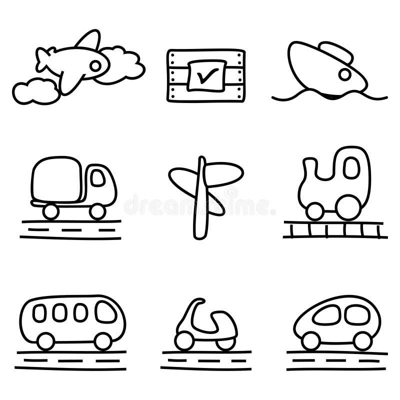 Graphismes de transport (variation noire et blanche) illustration de vecteur