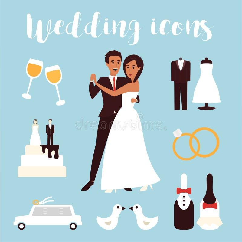 Graphismes de vecteur de mariage réglés Jeune mariée nuptiale de cérémonie, de voiture, de robe et de marié Illustration plate de illustration libre de droits