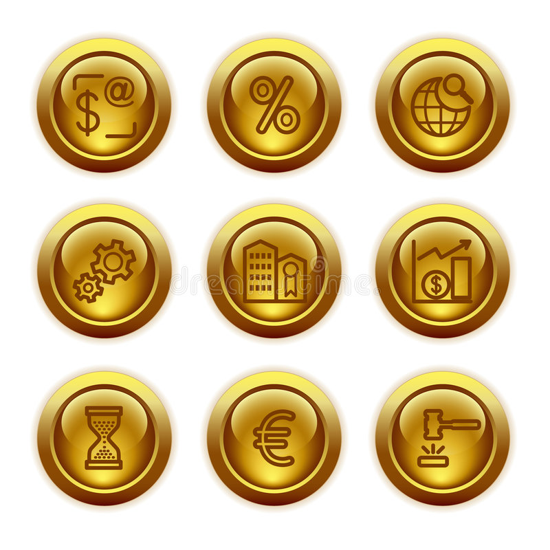Graphismes de Web de bouton d'or, positionnement 25 illustration stock