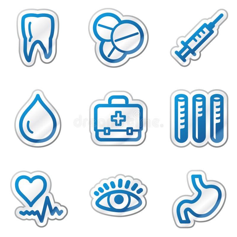 Graphismes de Web de médecine, série bleue de collant de forme illustration stock