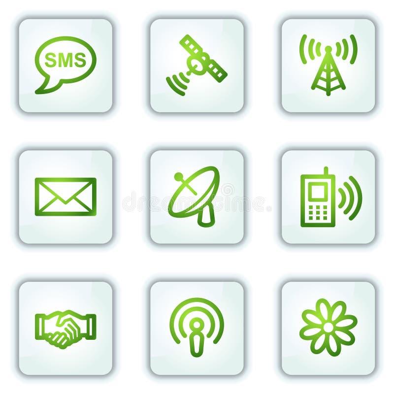 Graphismes de Web de transmission, boutons de grand dos blanc illustration stock