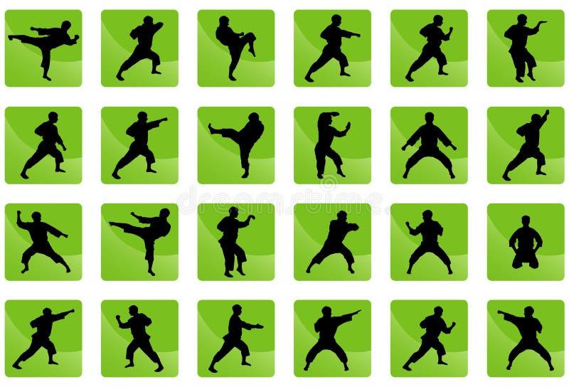 Graphismes du karaté sur le vert. illustration stock