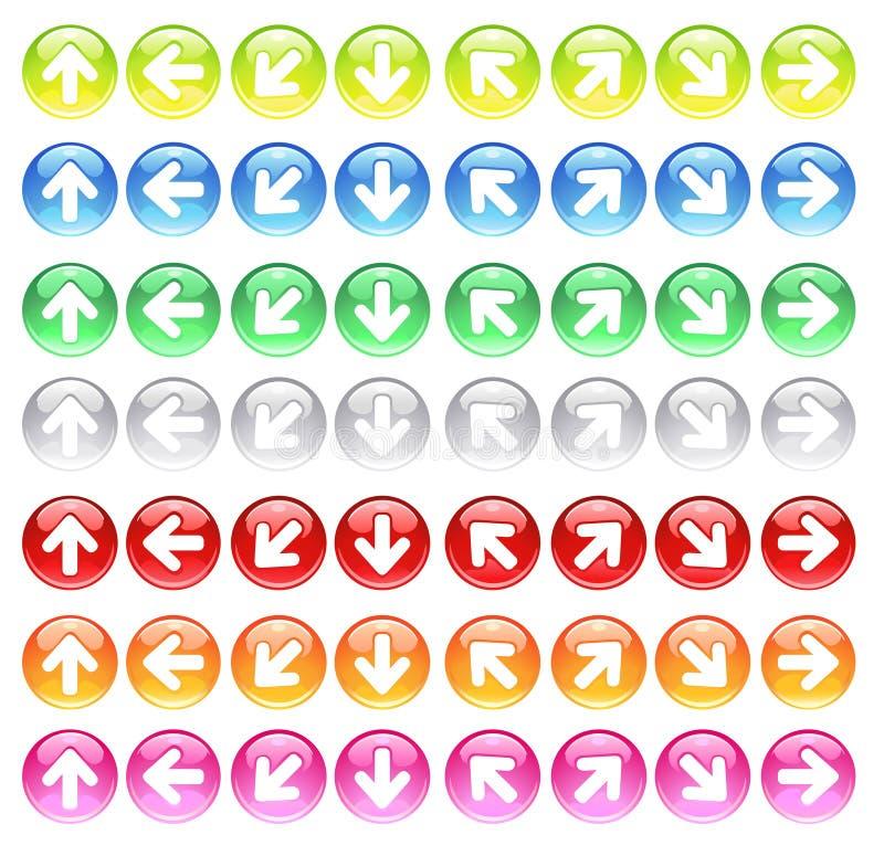 Graphismes en verre avec des flèches de symboles illustration de vecteur