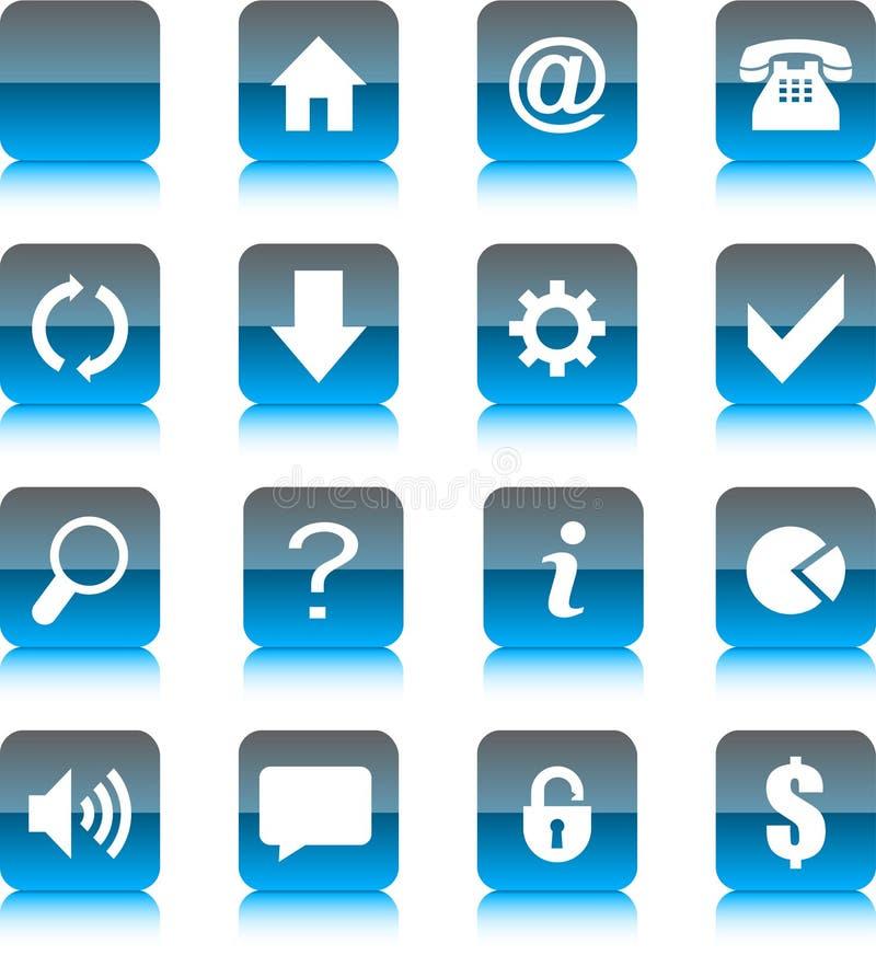 Graphismes en verre bleus de Web illustration de vecteur