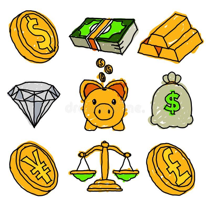 Graphismes financiers de griffonnage illustration libre de droits