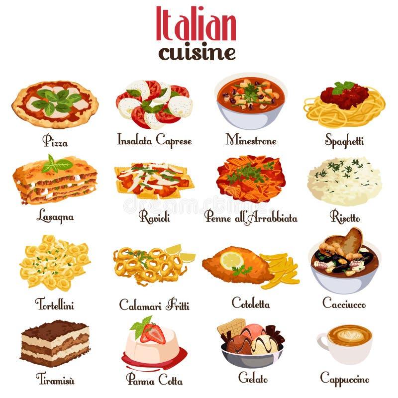 Graphismes italiens de cuisine illustration stock