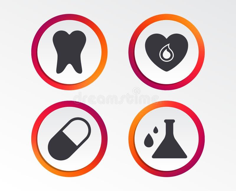Graphismes médicaux Pilule, dent, chimie et coeur illustration stock