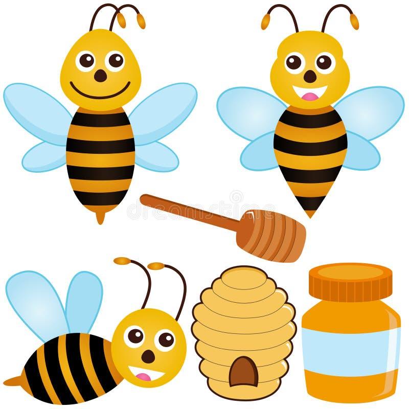 Graphismes mignons de vecteur : Abeille, miel illustration de vecteur