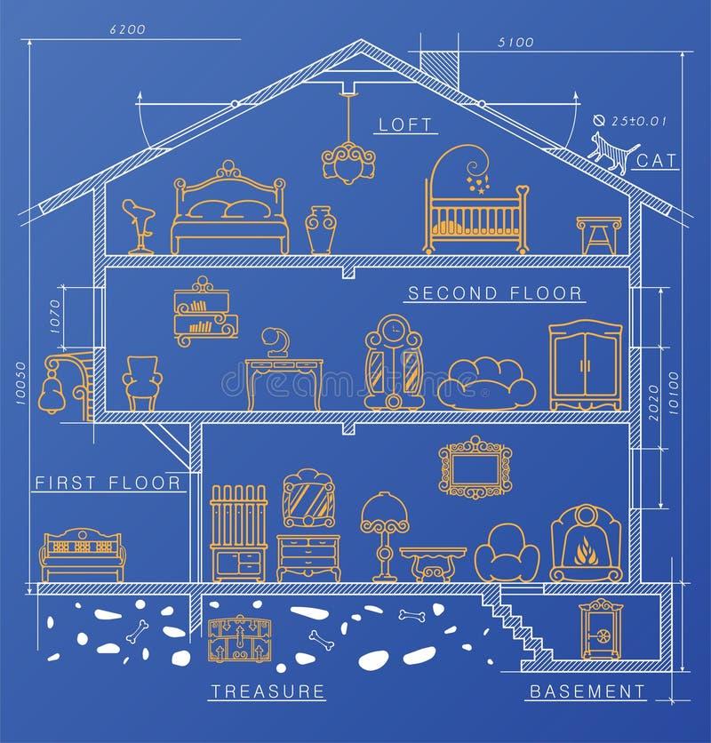 Graphismes réglés Illustration de vecteur Salles avec des meubles Chambre drowing avec des meubles illustration libre de droits