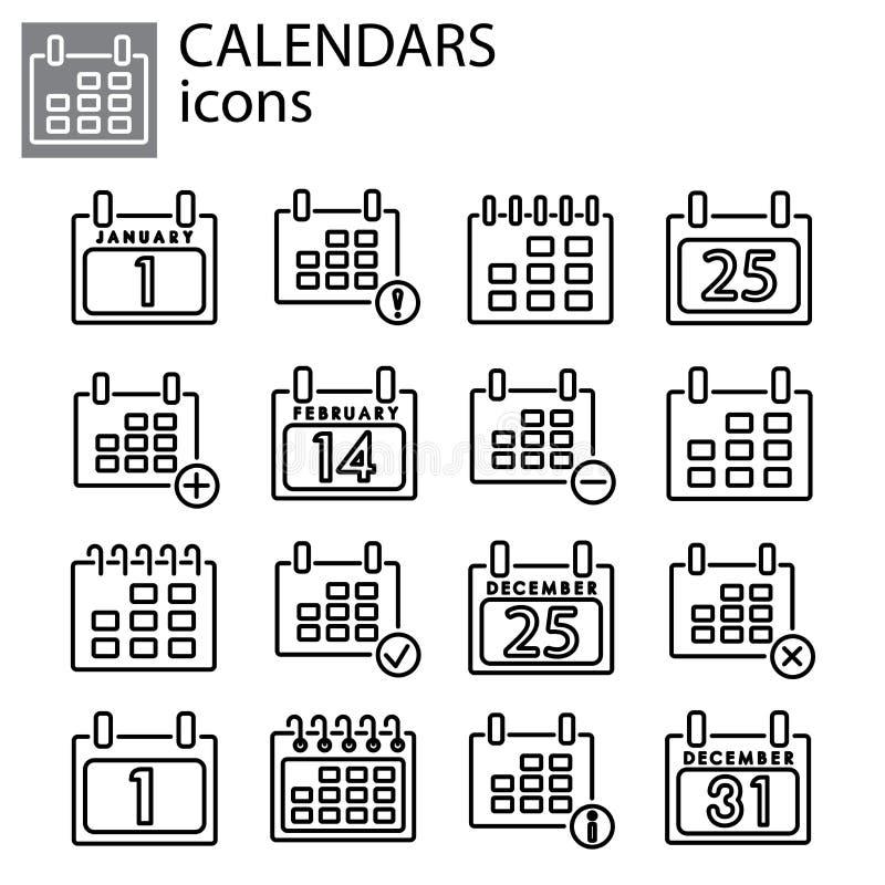 Graphismes réglés Vecteur de calendriers illustration de vecteur