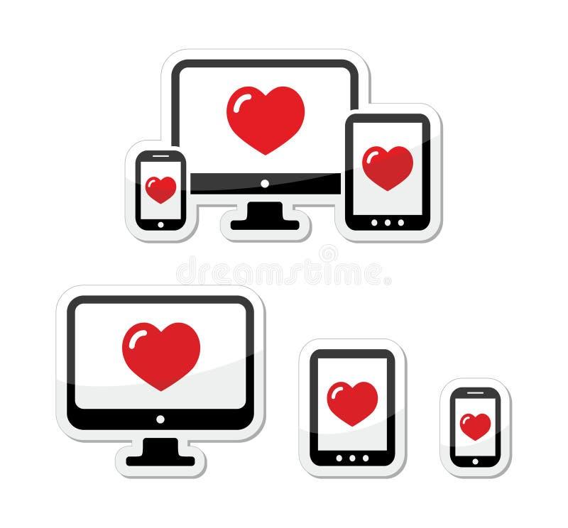 Graphismes sensibles de conception - moniteur, cellule/téléphone portable, tablette illustration libre de droits