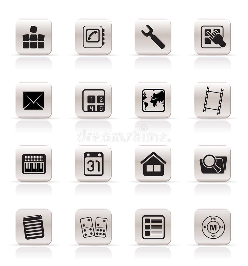 Graphismes simples de téléphone portable et d'ordinateur illustration stock