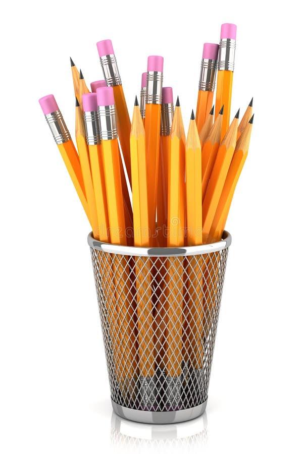 Graphite pencils in basket stock illustration