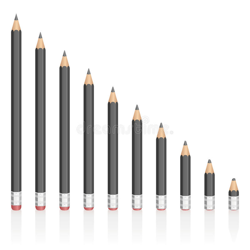 Graphite Pencils Reduction Different Sizes. Graphite pencils getting shorter - symbolic for contraction, reduction, decrease, loss. vector illustration on white royalty free illustration