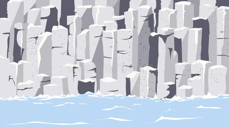 Graphite rocks on seashore vector illustration