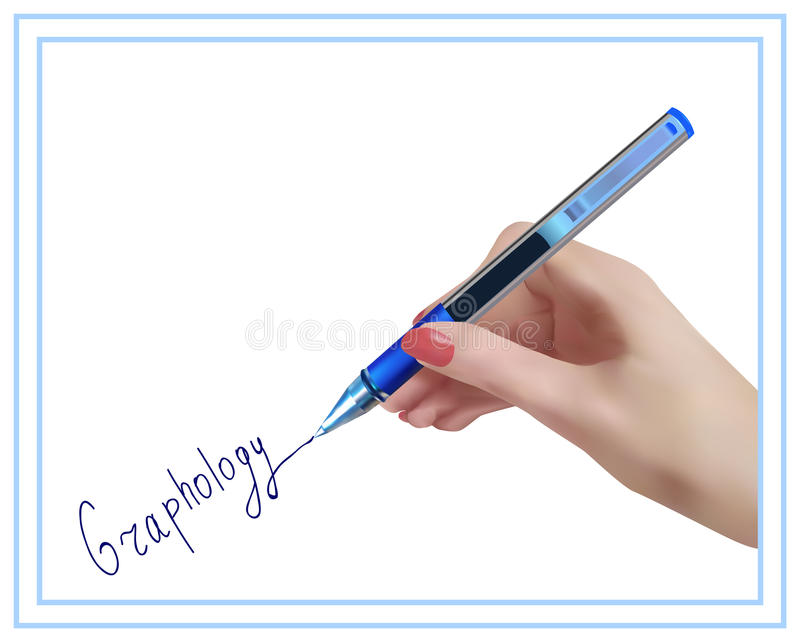Graphology. Handwriting studying. vector illustration