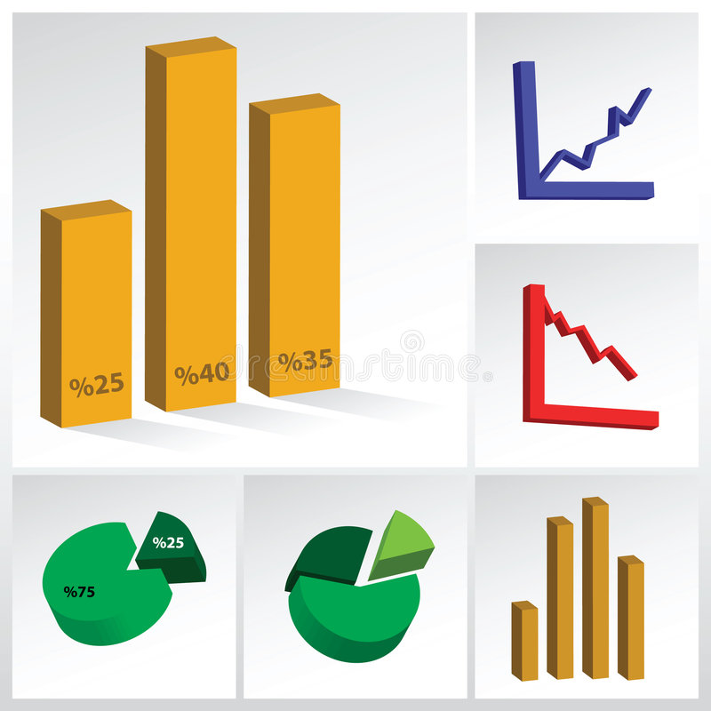 Graphs. Vector collection of various graphs stock illustration