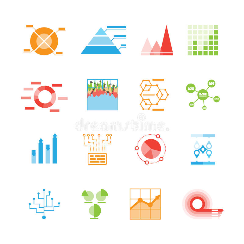 Graphs and charts icons or infographic elements royalty free illustration