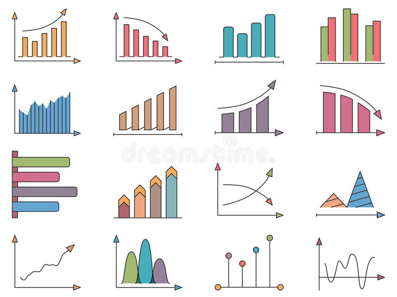 Graphs and Charts Icons royalty free illustration