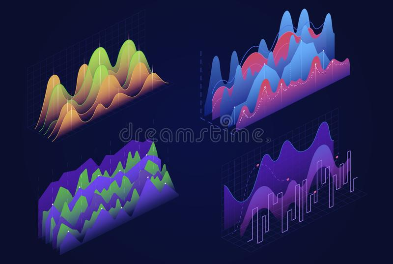 Graphs, charts isometric vector illustrations set stock illustration