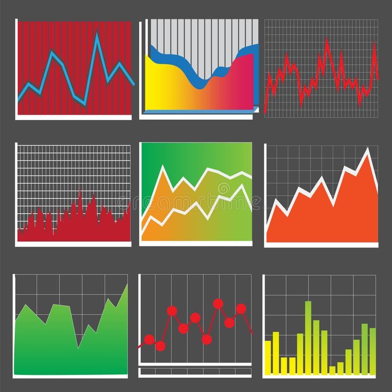 Graphs and charts for presentations. Vector illustration Eps10 file stock illustration