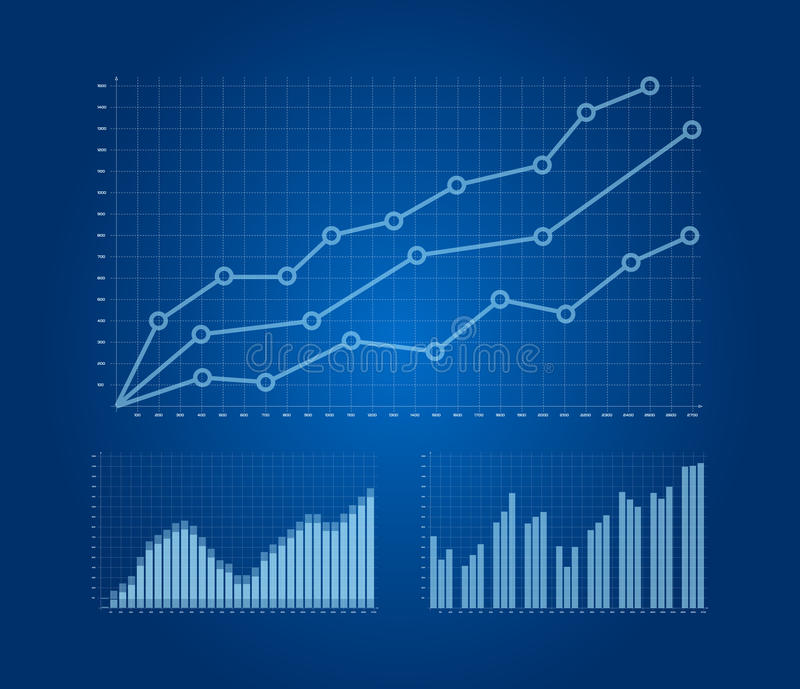 Graphs and charts set vector illustration