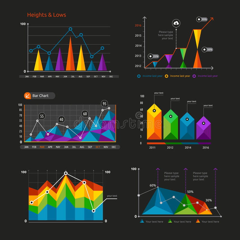 Graphs and charts set. Statistic and data, information infographic, vector illustration vector illustration