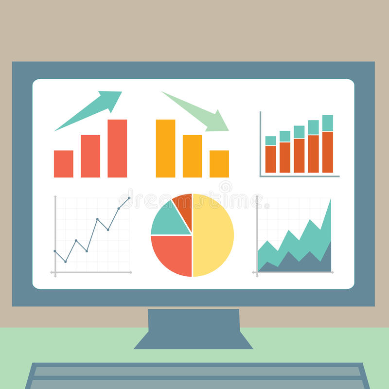Graphs on a Computer Screen. Different types of graphs on a computer screen stock illustration