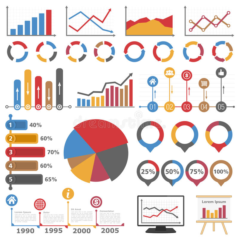 Graphs and Diagrams. Business infographic elements collection, set of different graphs, charts and diagrams royalty free illustration