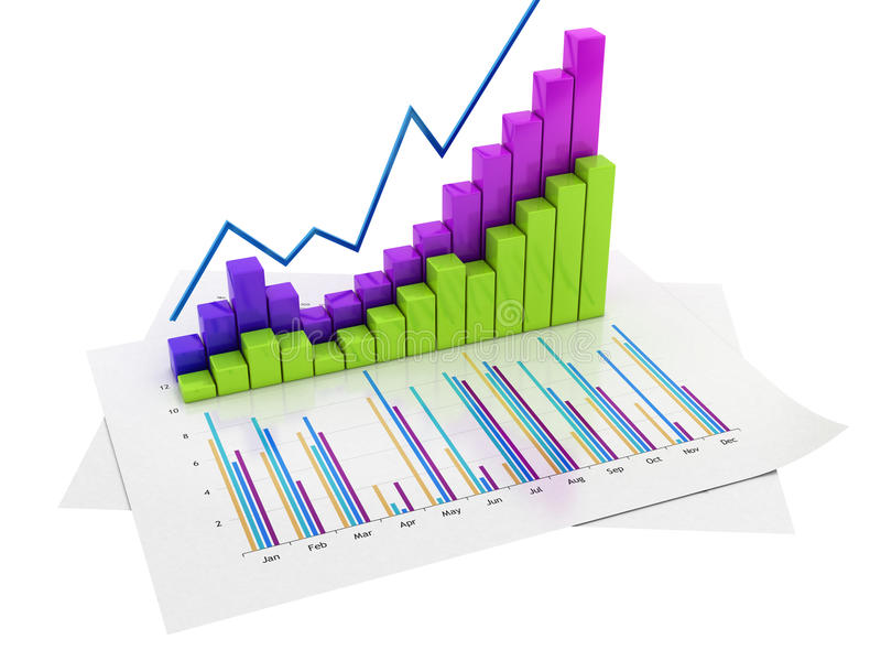Graphs Of Financial Analysis  Isolated Stock Illustration