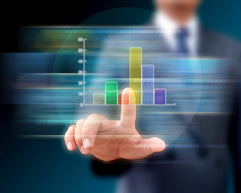 Download Graphs On The Hands Of Businessmen. Stock Photo - Image of pillar, earning: 39511462