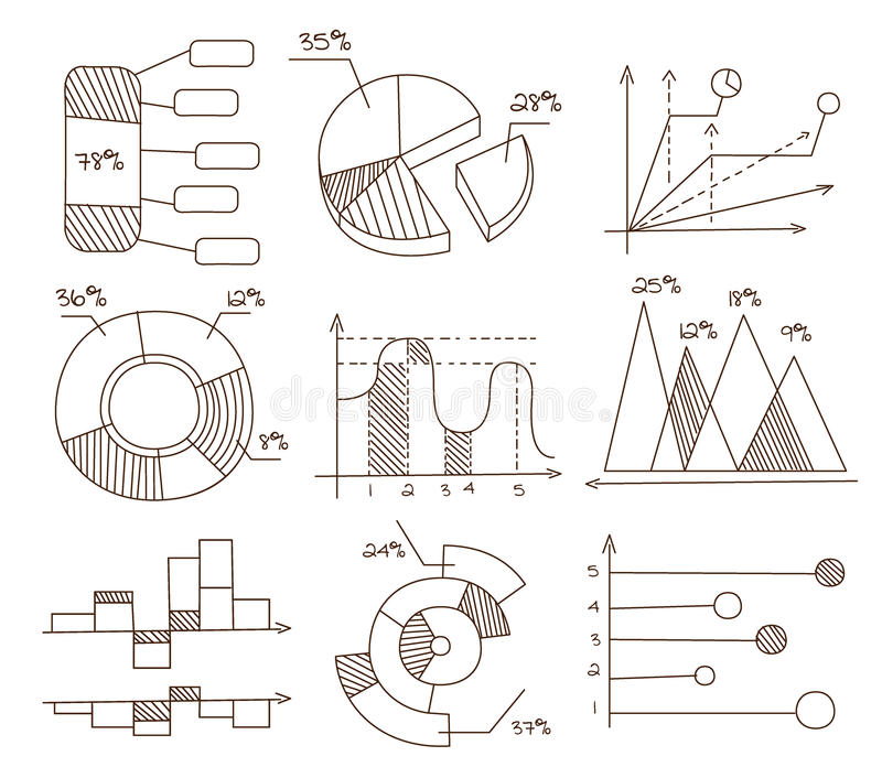 Graphs, Pie Charts and Diagrams. Hand Drawn stock illustration