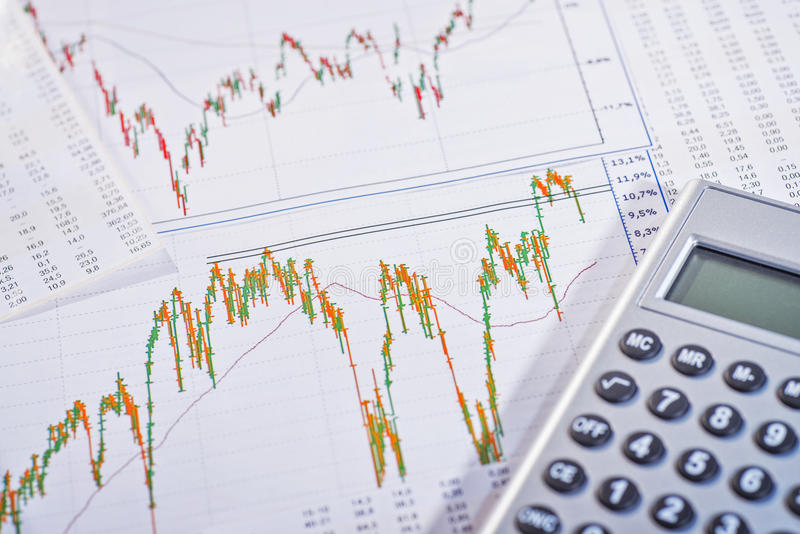 Graphs show fluctuating share prices royalty free stock photos