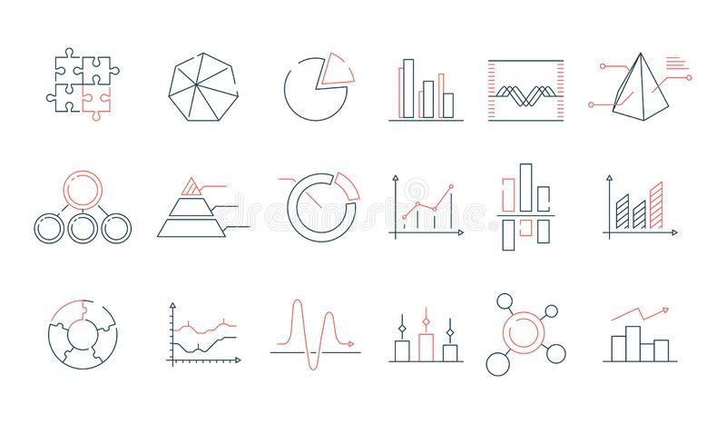 Graphs statistics icon. Financial business charts office stats vector colorful line trending symbols royalty free illustration