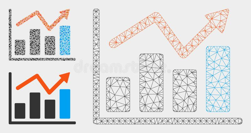 Graphs Vector Mesh Network Model and Triangle Mosaic Icon. Mesh graphs model with triangle mosaic icon. Wire carcass triangular mesh of graphs. Vector mosaic of royalty free illustration