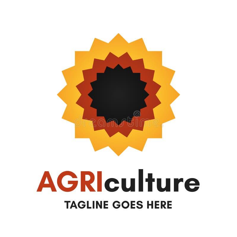 Grapical färgade åkerbruk logo för solros på vit bakgrund vektor illustrationer