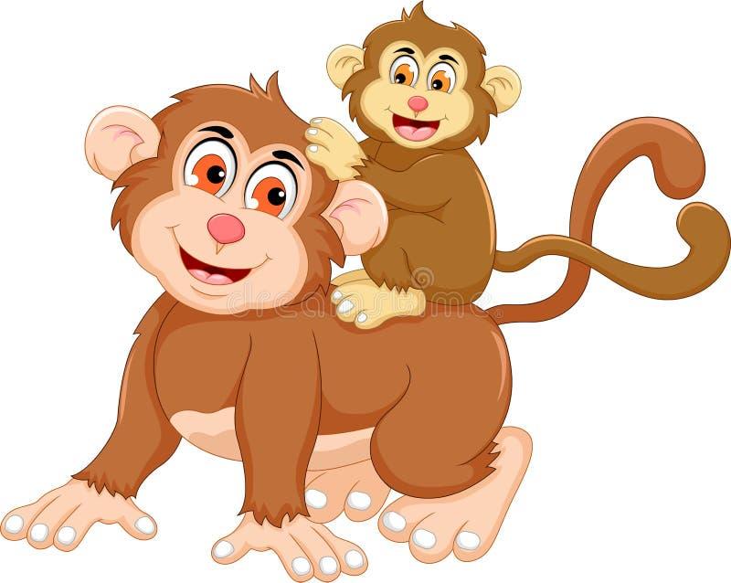 grappig aapbeeldverhaal met haar baby vector illustratie