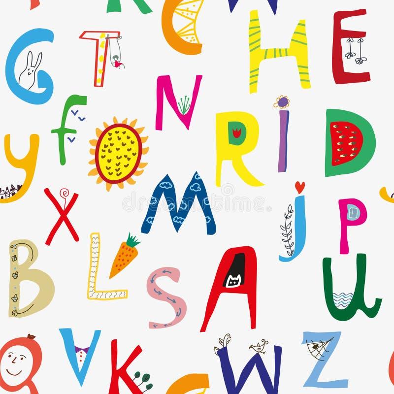 Grappig alfabet naadloos patroon voor jonge geitjes, leuke deisgn Vector illustratie vector illustratie