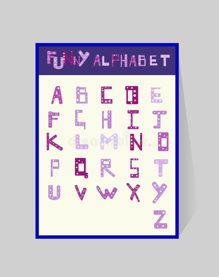 Grappig alfabet voor kinderen ABS ontwerp met een geometrisch patroon Vector cartoony violette brieven op witte achtergrond stock illustratie